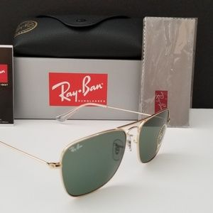 Ray Ban Caravan RB3136 Gold G15 Lens 58mm
